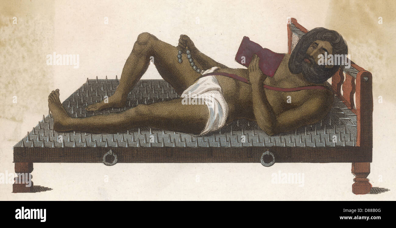 Fakir On Bed Of Nails Stock Photo 56732608 Alamy