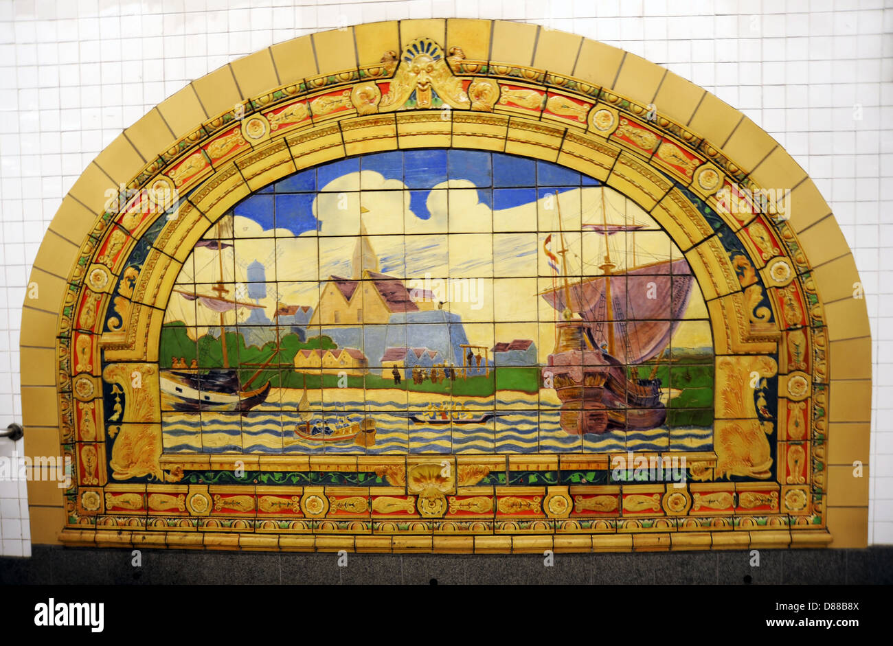 New York CIty Subway system decorated colorful ceramic