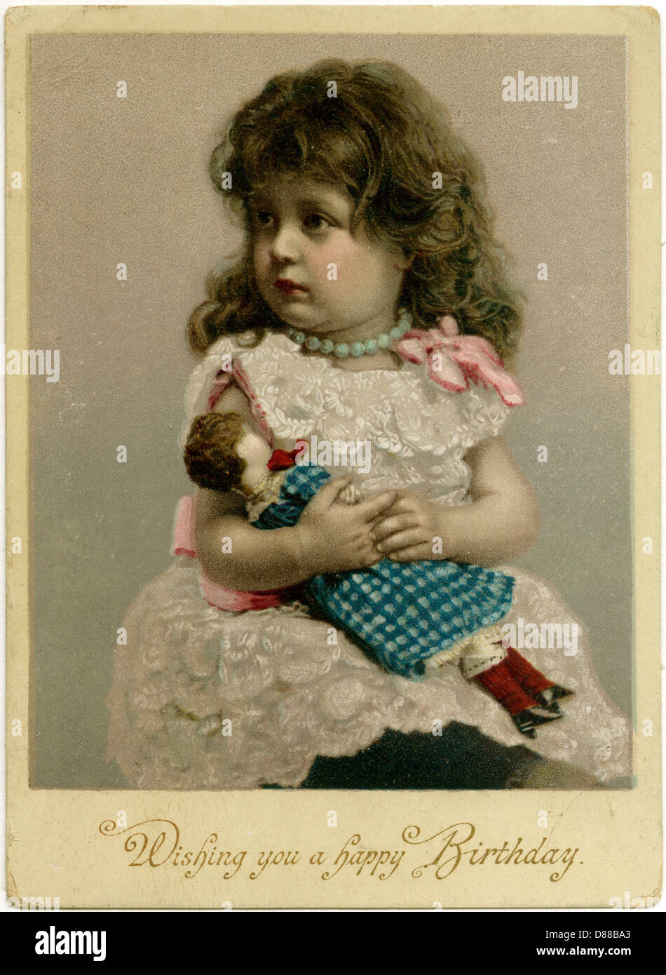 Girl And Doll  1900 - Stock Image