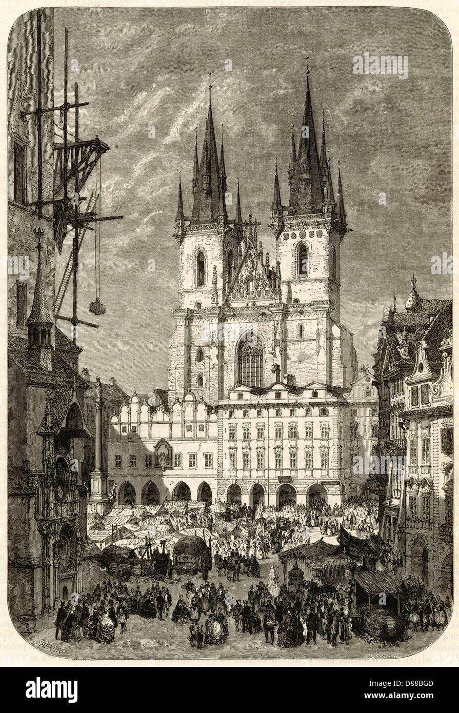 Prague Tyn Church 1859 - Stock Image