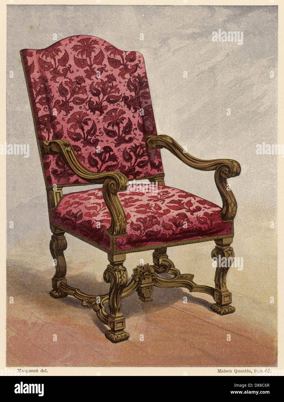 French C17 Armchair Stock Photo