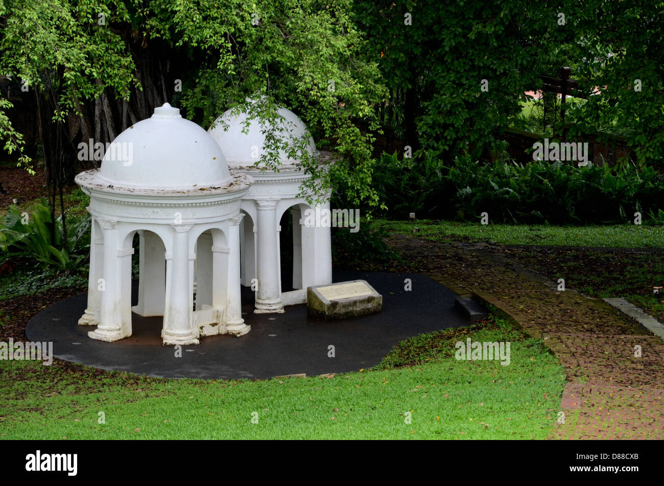 Two meditating cupolas in park, Singapore - Stock Image