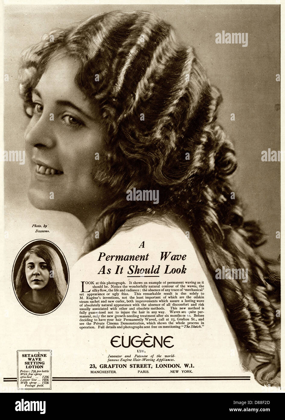 Advert For Eugene Permanent Wave 1922 - Stock Image
