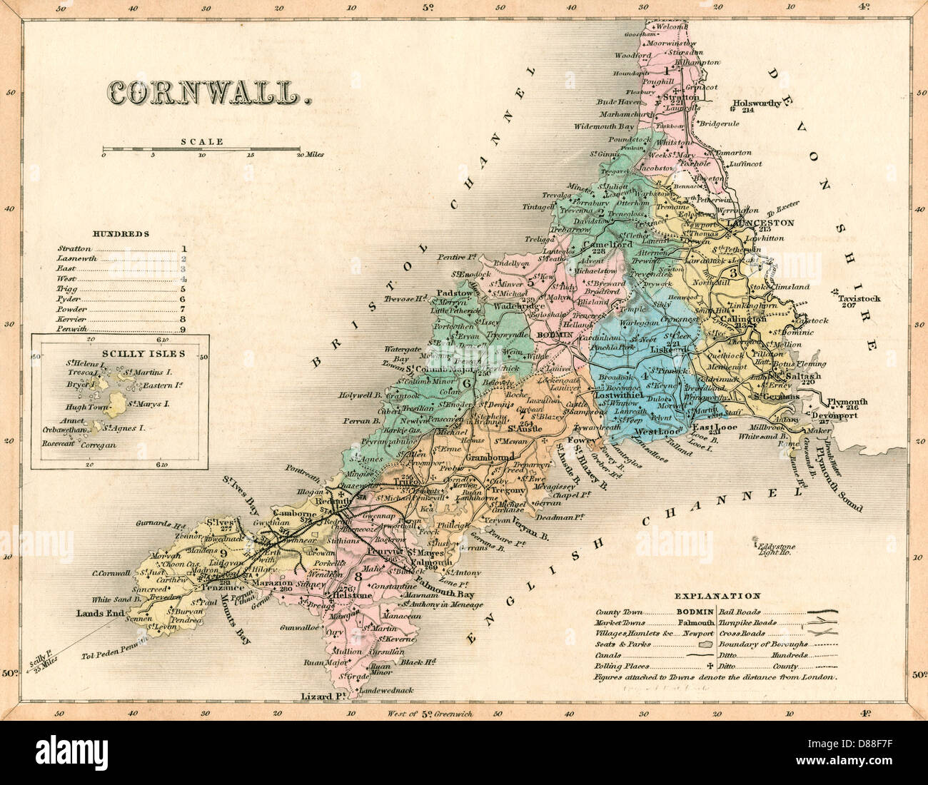 Map Of Cornwall England Stock Photos Map Of Cornwall England Stock