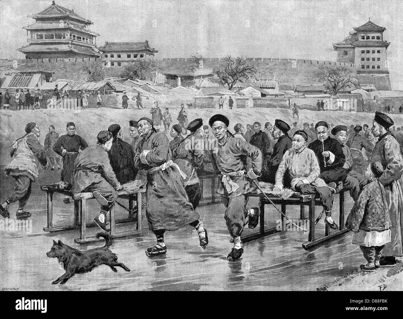 Chinese Skaters 1896 - Stock Image