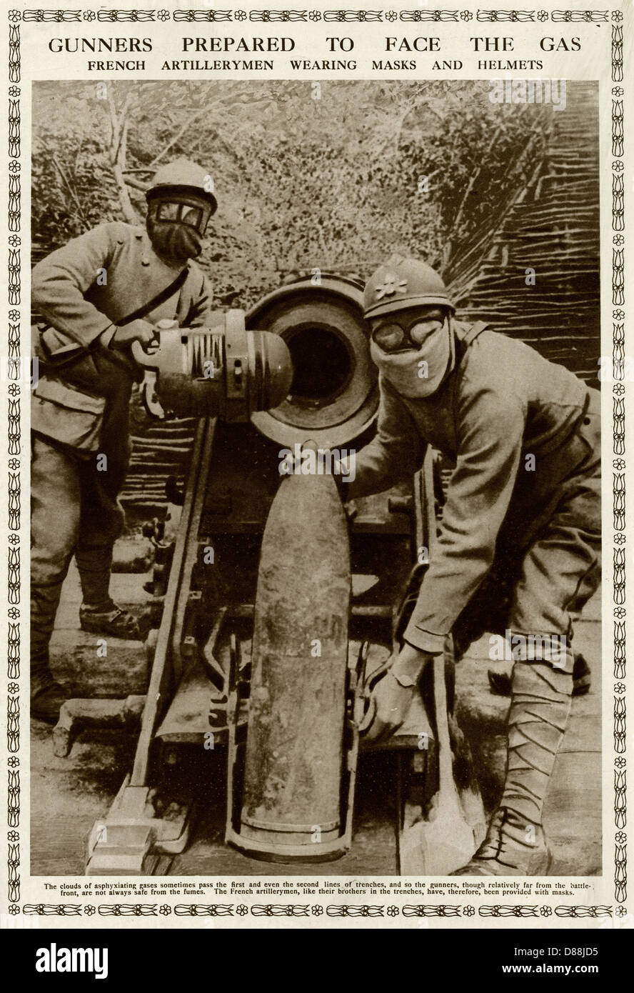 Gunners Prepared To Face The Gas 1916 - Stock Image