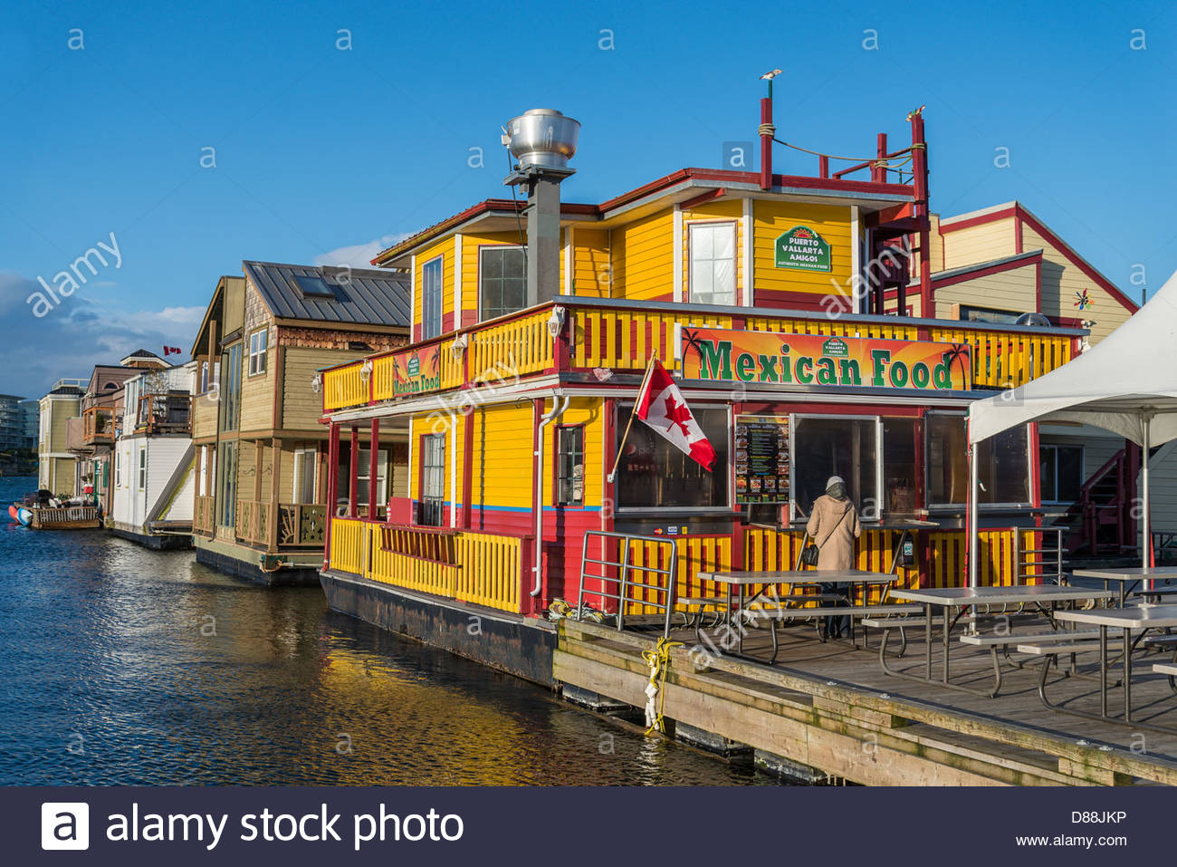 Floating Mexican Restaurant, Fisherman's Wharf, Victoria, British Columbia, Canada - Stock Image
