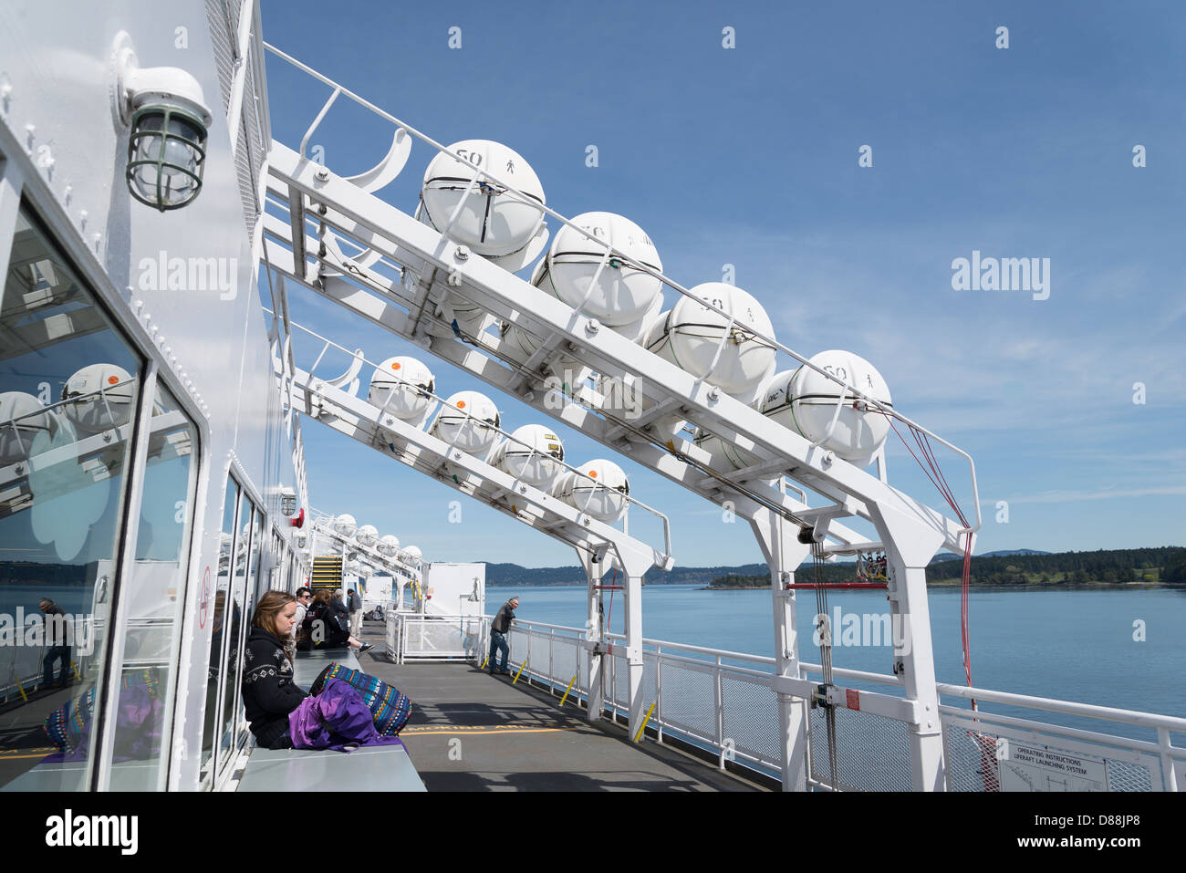 Life raft array, BC Ferry, British Columbia, Canada - Stock Image