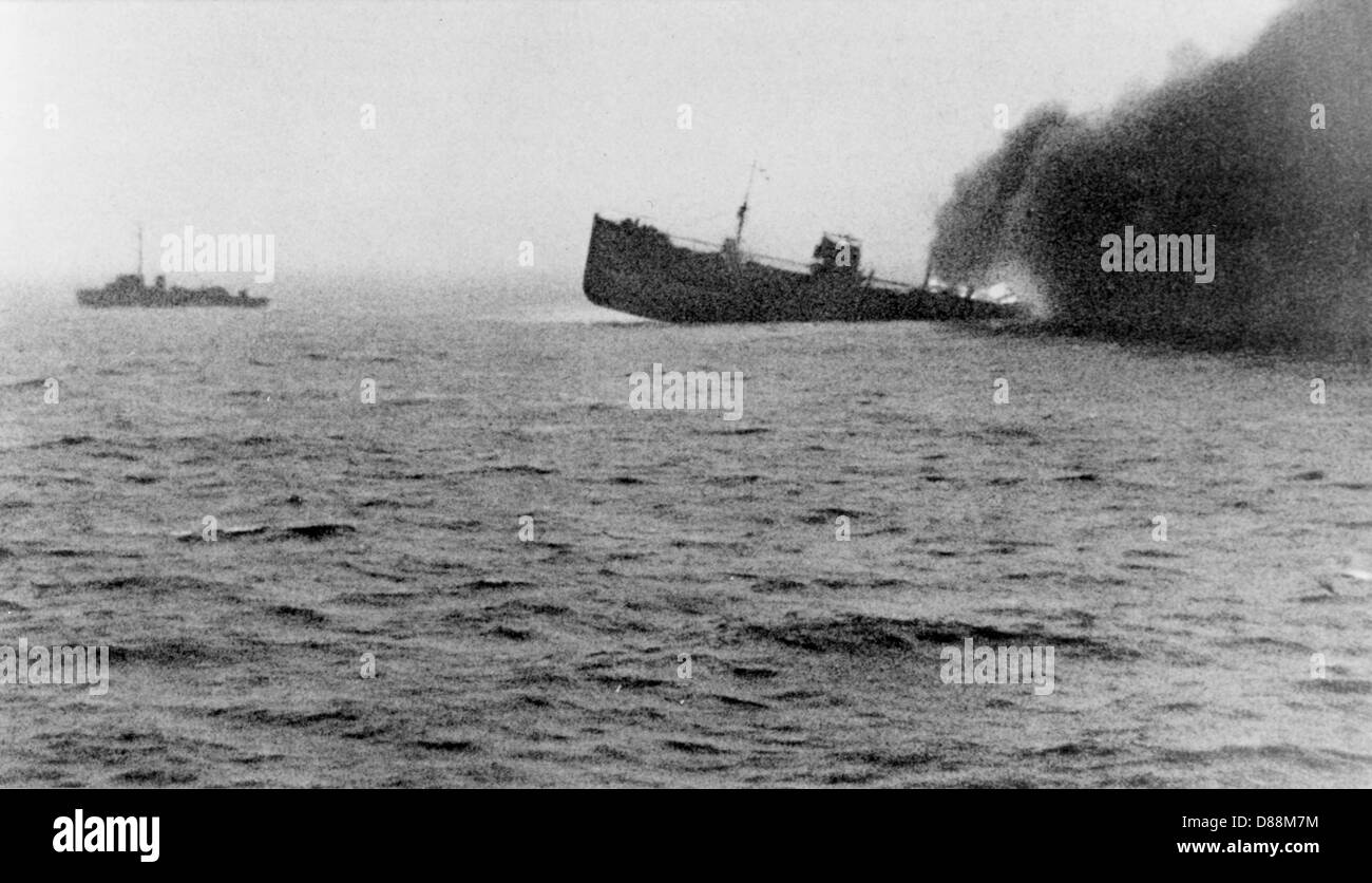 British Ship Sinks - Stock Image