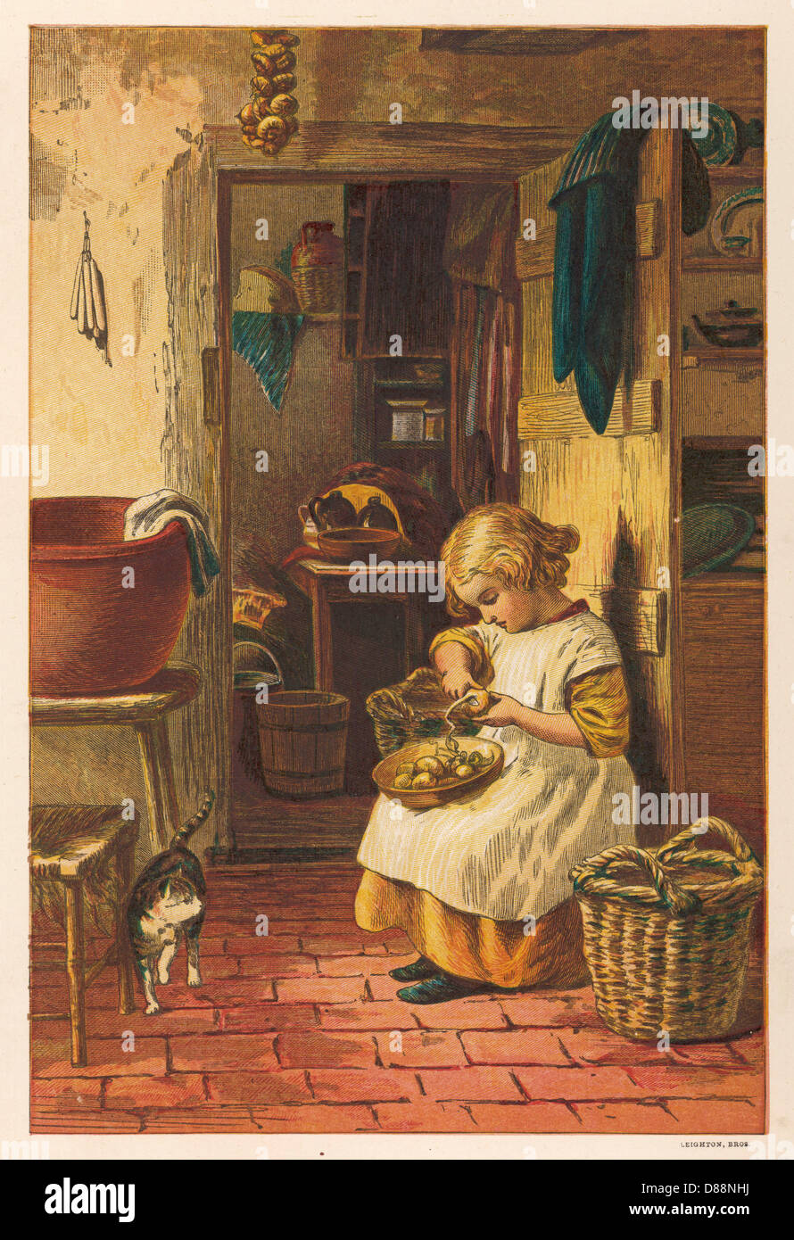 Small Girl Cooks 1878 - Stock Image