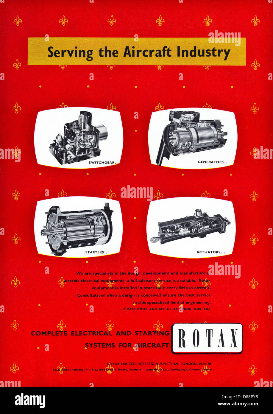 Advert For ROTAX Electrical And Starting Systems Aircraft Advertisement In Trade Magazine Circa 1955