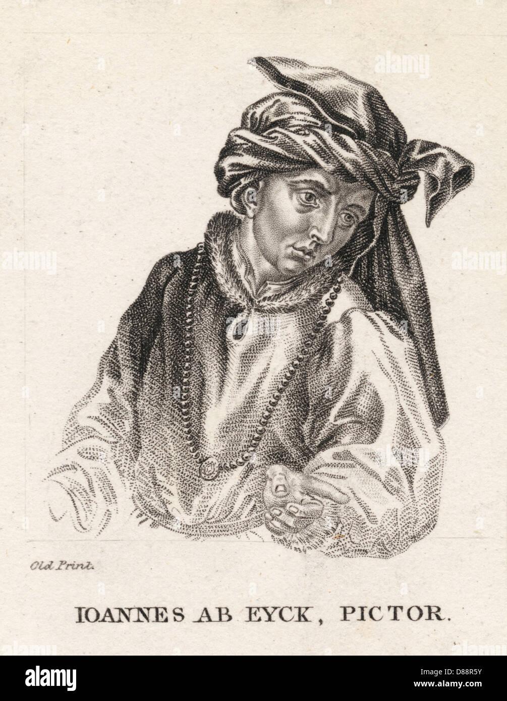 Jan Van Eyck Old Print - Stock Image
