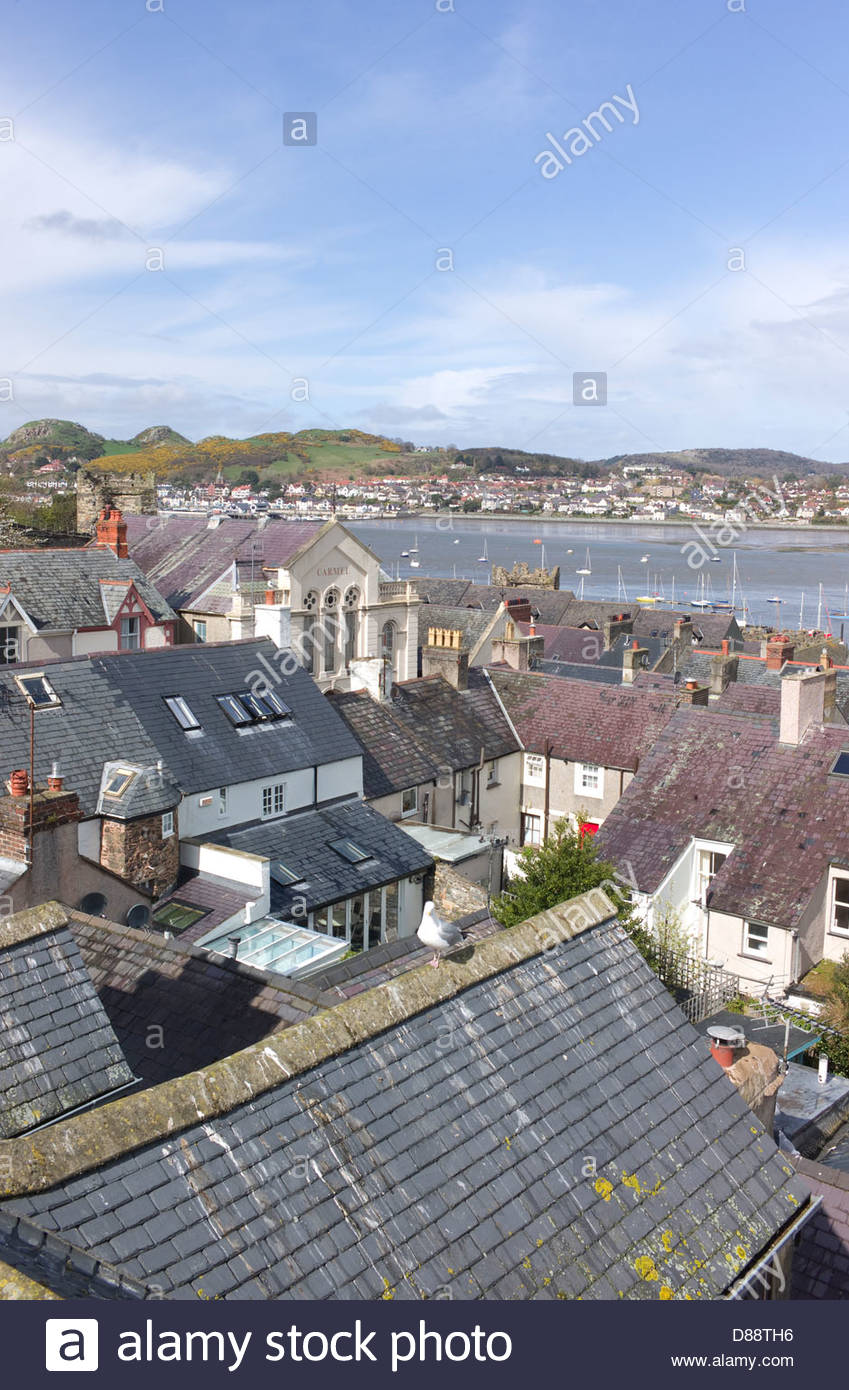 Conwy town and harbour, Wales, UK Stock Photo