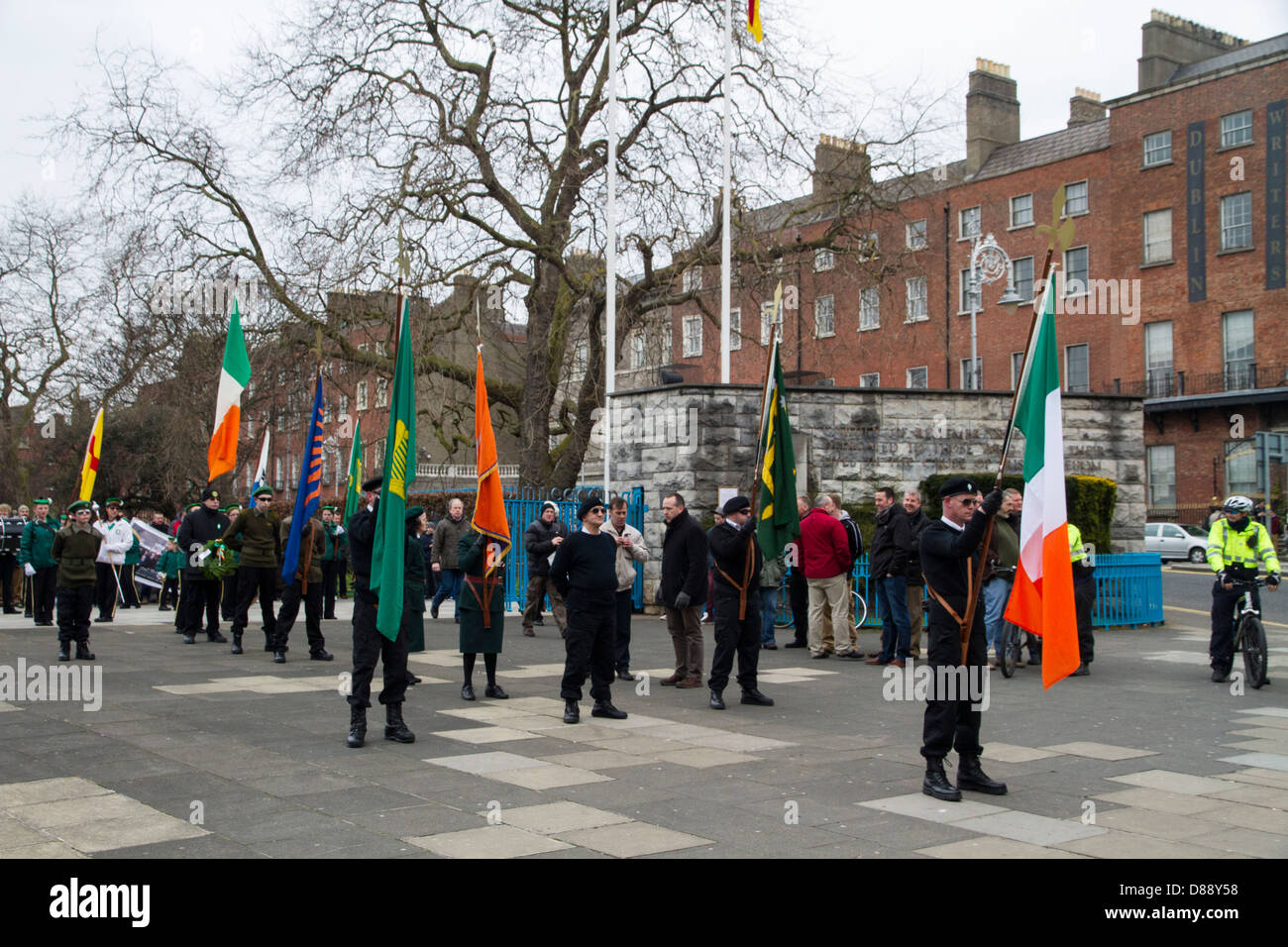 Dissident group Republican Sinn Fein march to the GPO in Dublin to commemorate the Easter Rising of 1916 - Stock Image