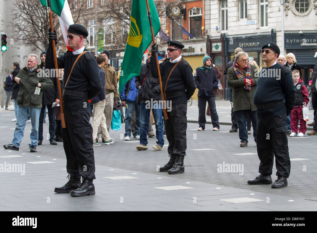 Dissident group Republican Sinn Fein march to the GPO in Dublin to commemorate the Easter Rising of 1916 Stock Photo