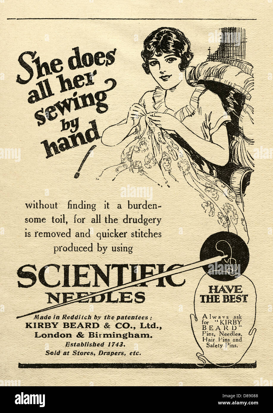 Advert for Scientific sewing needles - illustrated by a