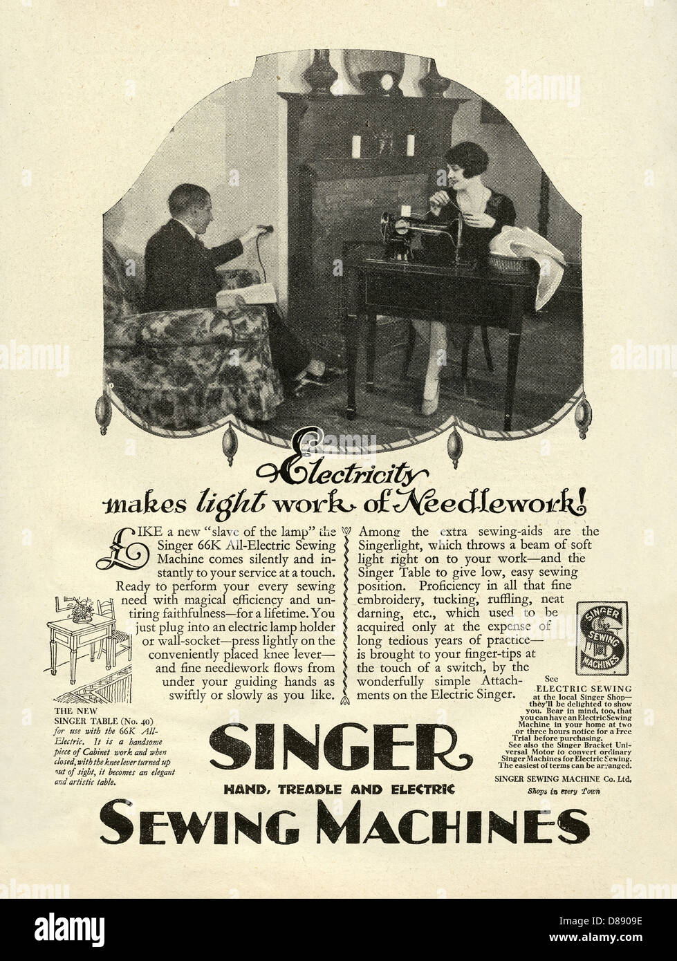 Singer Sewing Machine Advertisement Stock Photos & Singer