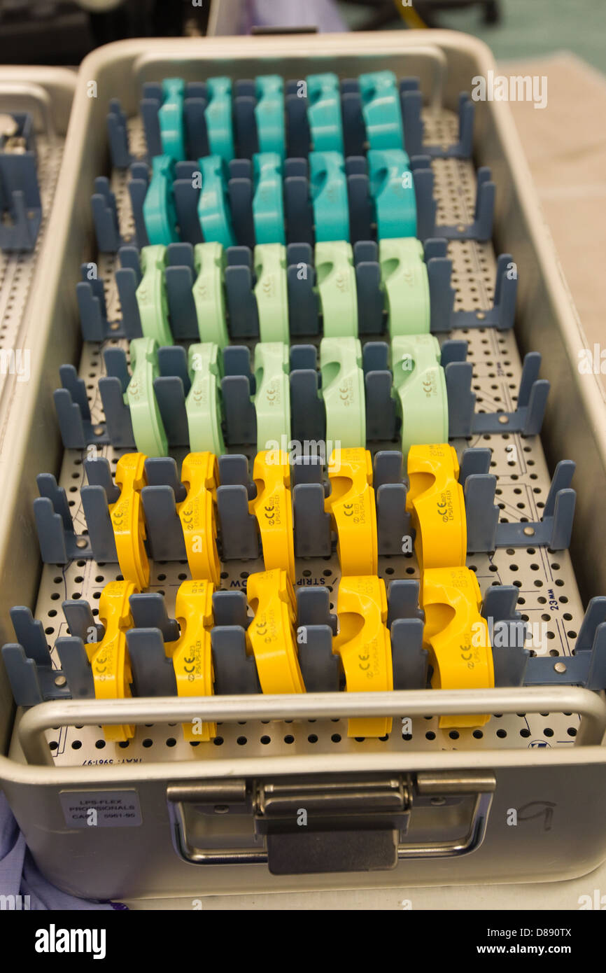 Tibial spacers in tray in hospital theatre-LPS Flex tray - Stock Image