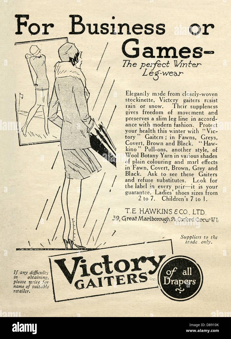 1928 advert for Victory gaiters or rain and snow-proof lower leg protectors - the illustration is of a lady wearing - Stock Image