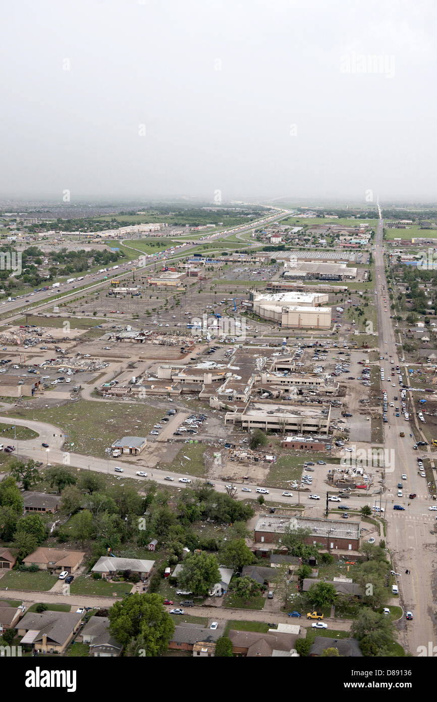 Aerial view of destruction from an EF-5 tornado May 21, 2013 in Moore, Oklahoma. The massive storm with winds exceeding - Stock Image