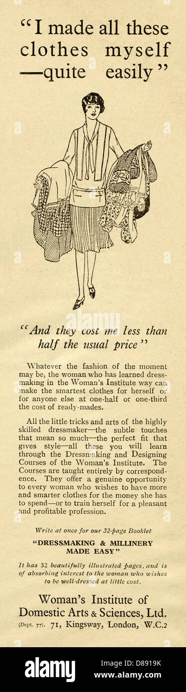 1928 advert for the Women's Institute - or in full 'The Woman's Institute of Domestic Arts and Sciences' - Stock Image