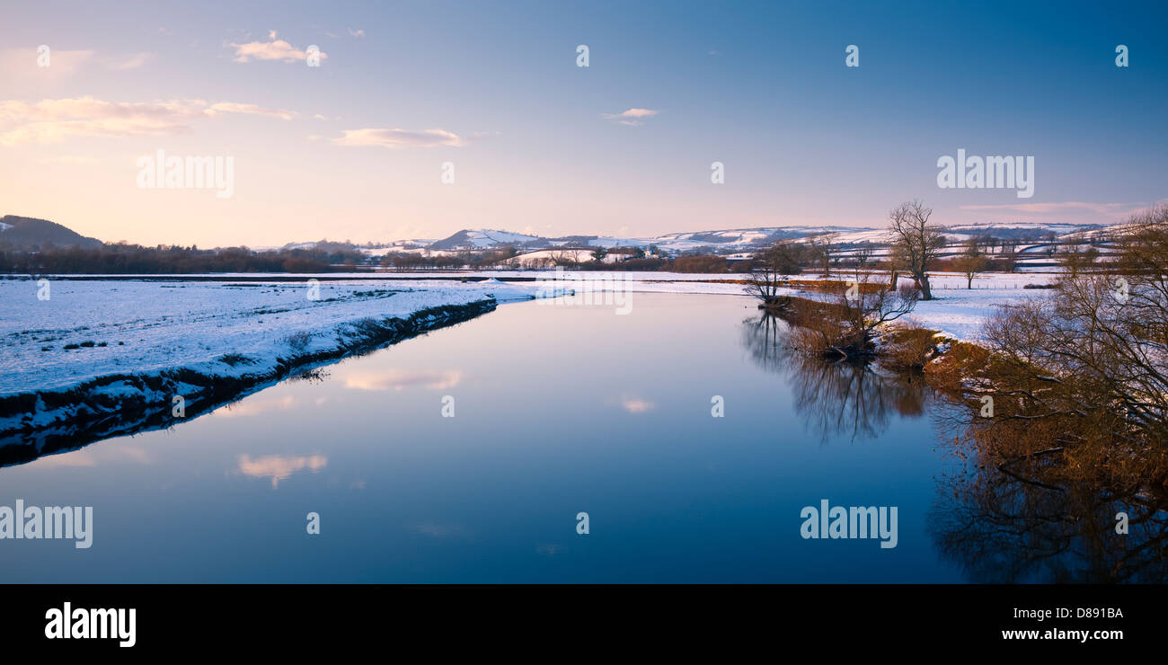 River Towy near Dryslwyn Llandeilo Carmarthenshire Wales in snow - Stock Image
