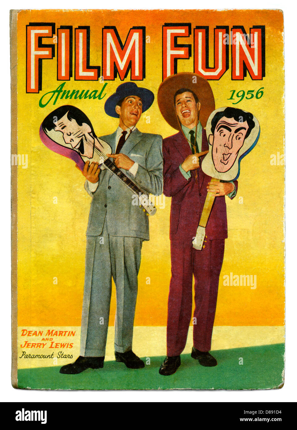 Vintage children's book, Film Fun annual, 1956, featured comedians and movie stars Dean Martin and Jerry Lewis - Stock Image
