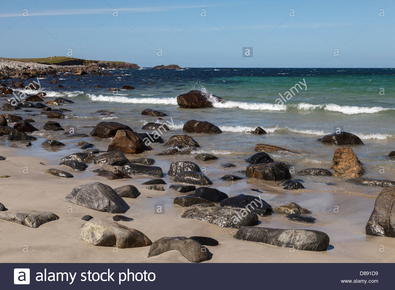 The beach at Shawbost (Siabost), Isle of Lewis, Outer Hebrides, Scotland, United Kingdom - Stock Image