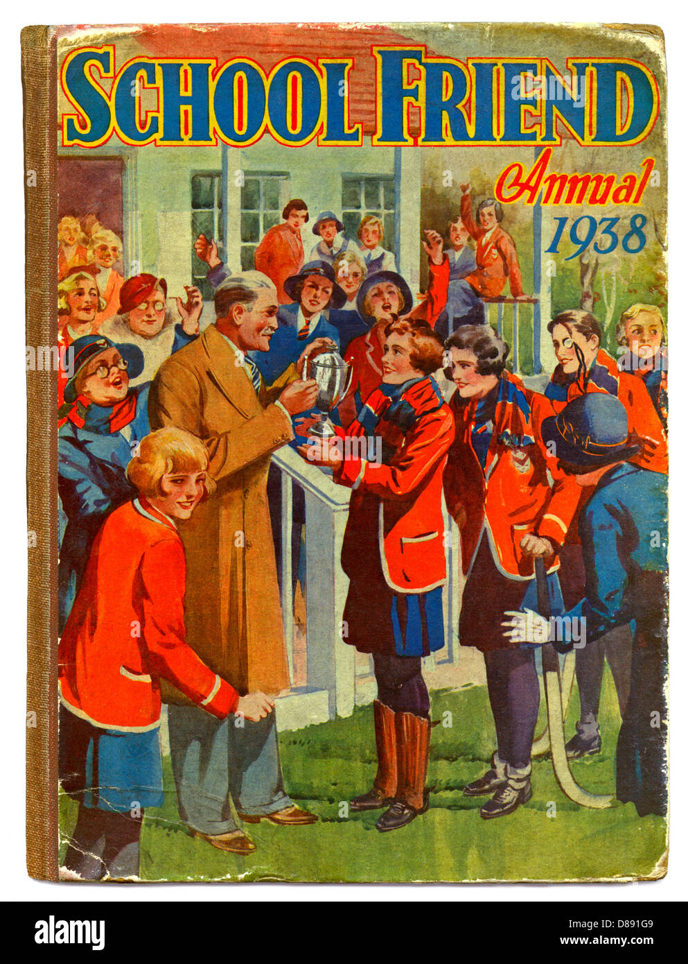 The School Friend girl's annual 1938 featured a cup for the winners of a hockey match at an exclusive school - Stock Image