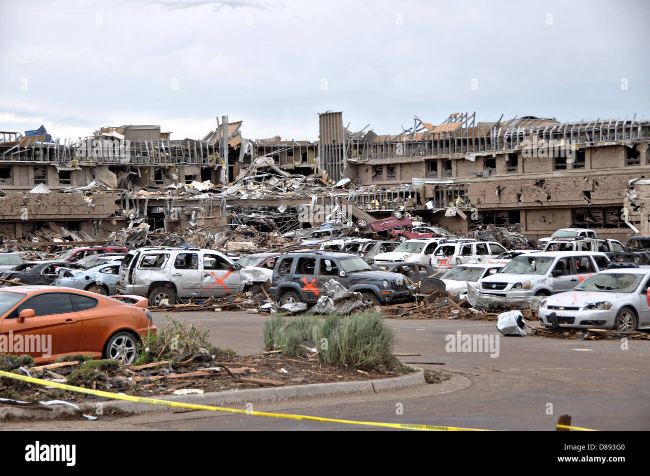 Damage to the Norman Regional Hospital destroyed by an EF-5 tornado May 21, 2013 in Moore, Oklahoma. The massive - Stock Image