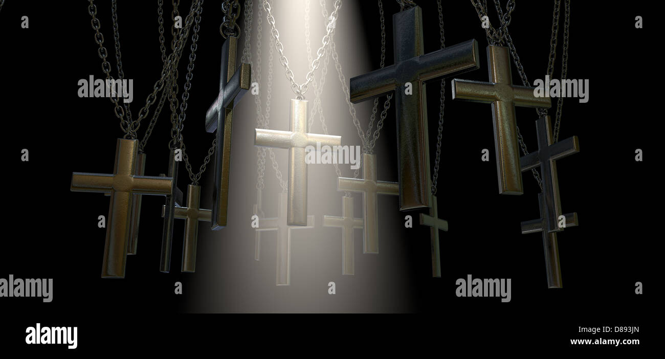 A group of metal crucifixes hanging from chains and a spiritual