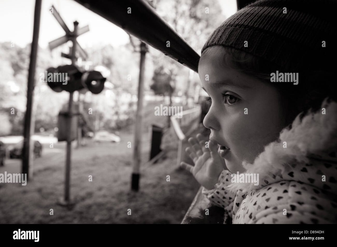 A young girl looks out of a window on the Puffing Billy steam train in Melbourne, Victoria, Australia - Stock Image