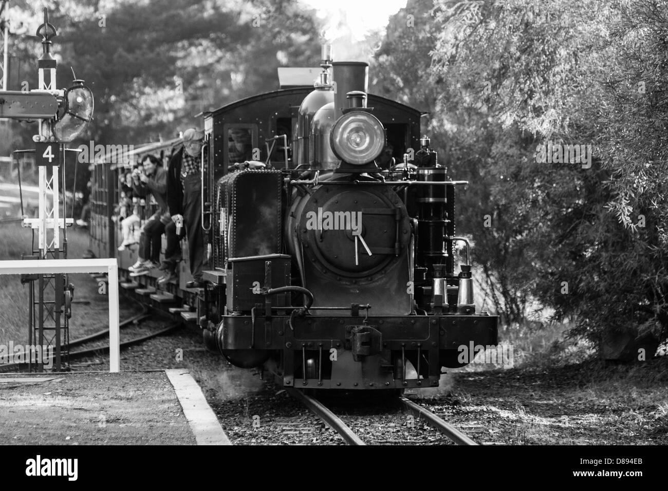 Puffing Billy steam trains comes to a stop in Melbourne, Victoria, Australia - Stock Image