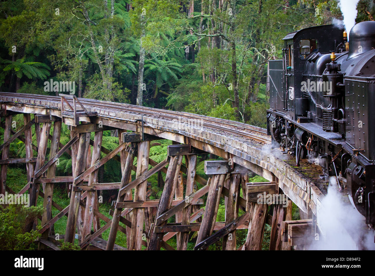 Puffing Billy steam train travels across an old wooden bridge in Melbourne, Victoria, Australia - Stock Image