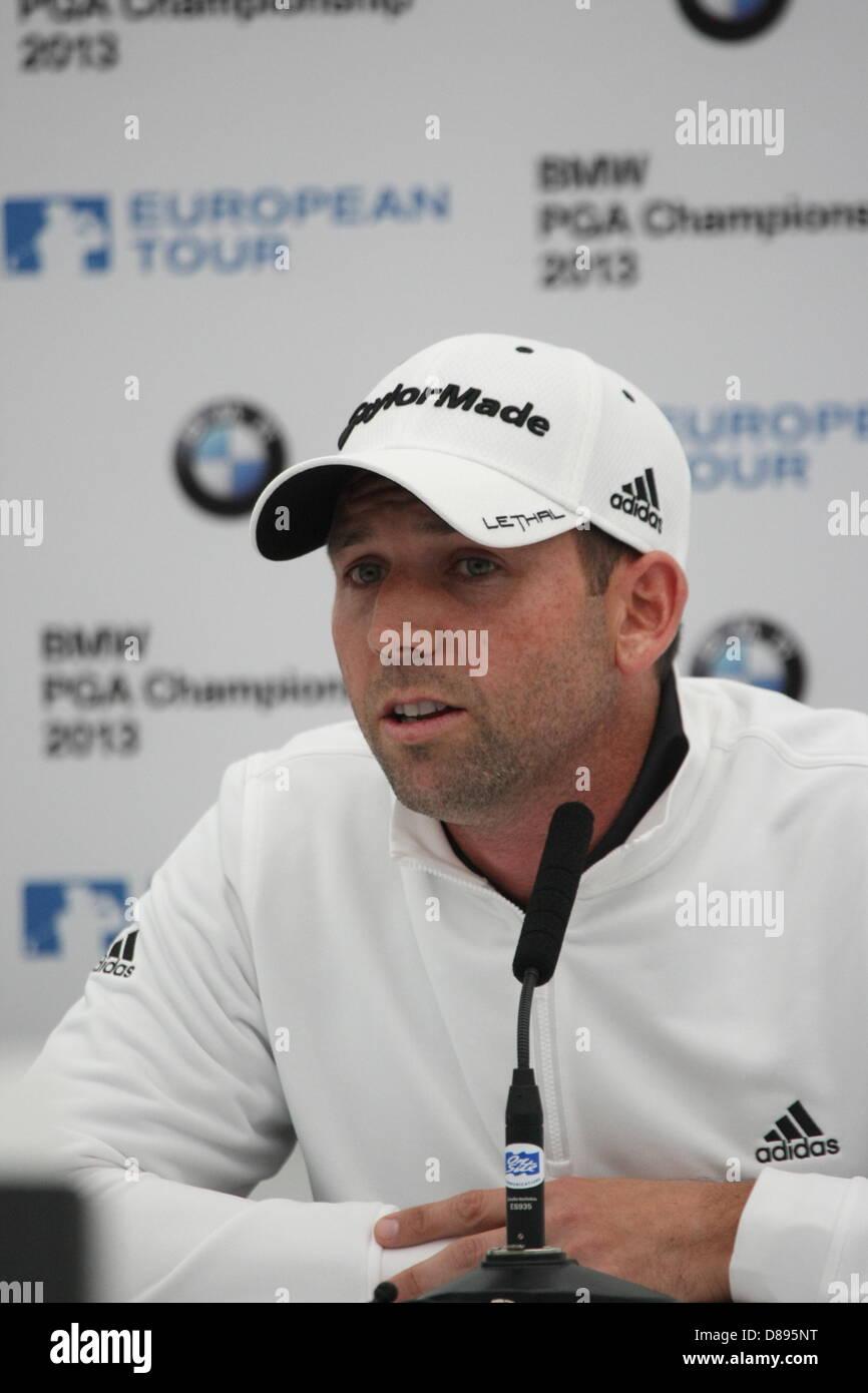 Spanish golfer SERGIO GARCIA addresses the media at the BMW PGA Championship at Wentworth 2013 - Stock Image