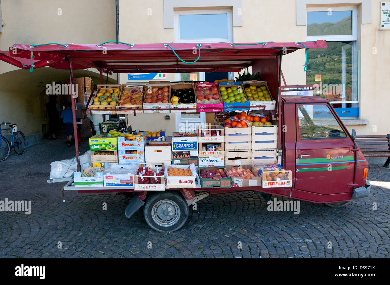 fruit and vegetable truck, peschiera maraglio, monte isola, lake iseo, lombardy, italy - Stock Image