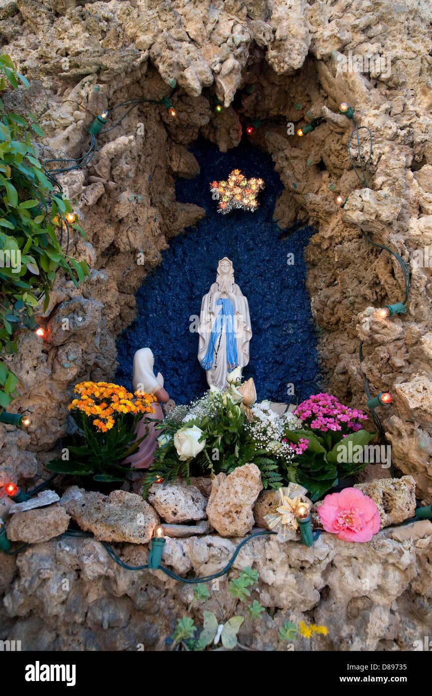 madonna in shrine, peschiera maraglio, monte isola, lake iseo, italy - Stock Image