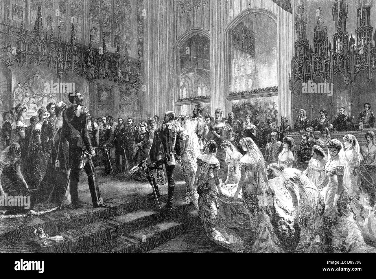 WEDDING OF PRINCE ARTHUR, DUKE OF CONNAUGHT to Princess Louise Margaret of Prussia in St George's Chapel, Windsor, - Stock Image
