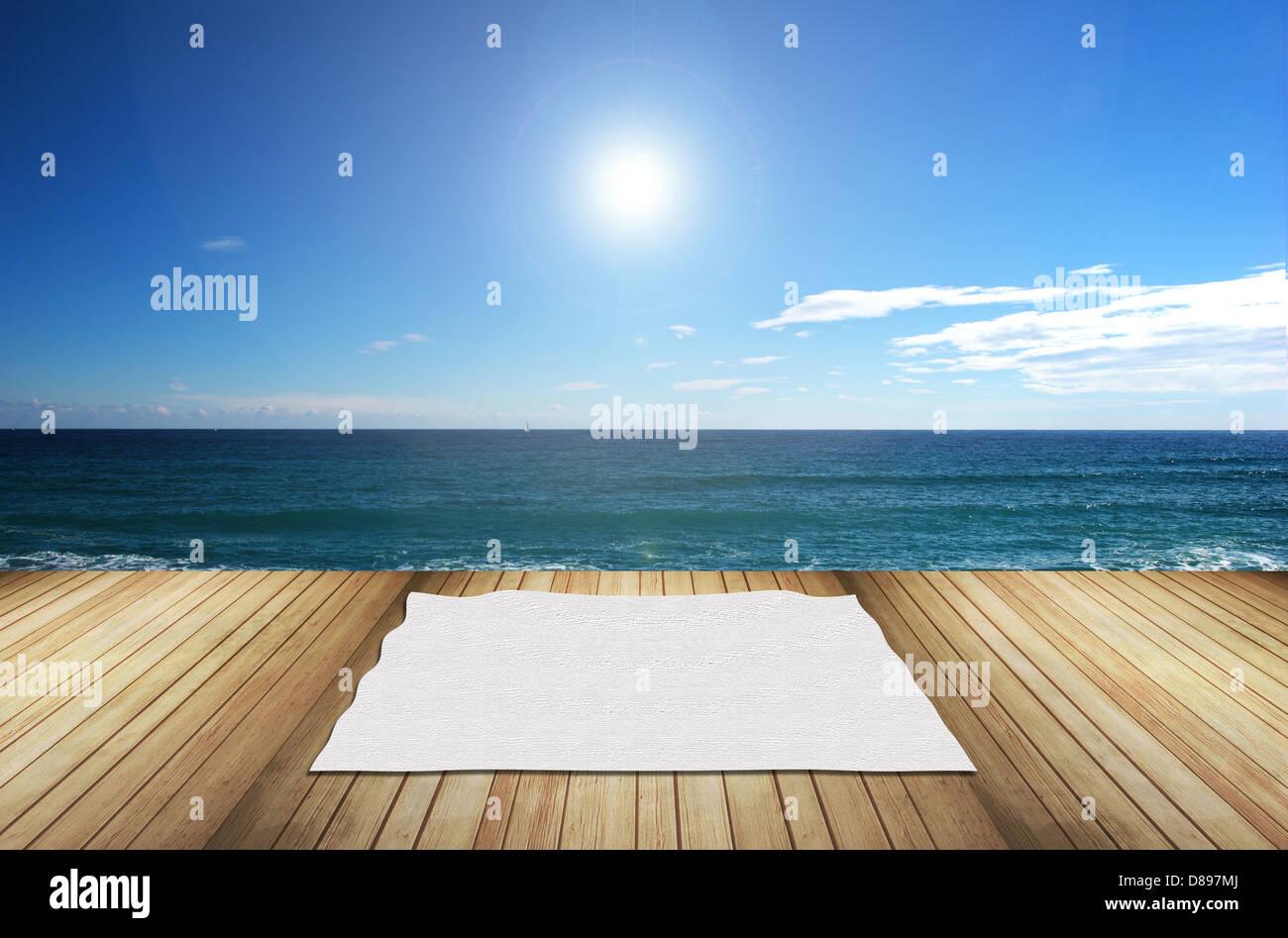 terraza con vistas al mar - Stock Image