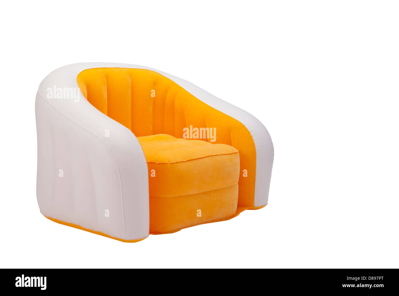 Inflatable orange color armchair isolated on white background - Stock Image