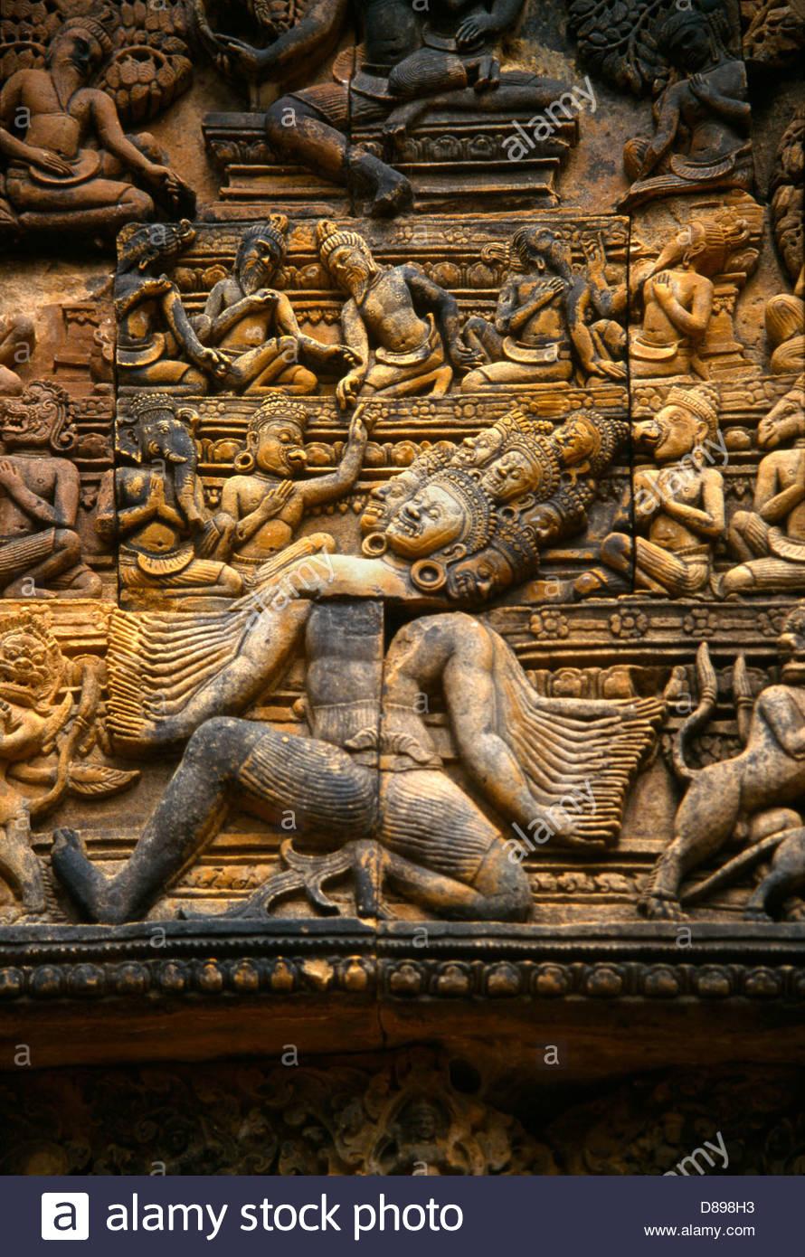 Banteay Srei Cambodia Khmer Temple Many Armed Ravana King Of Demons Lanka