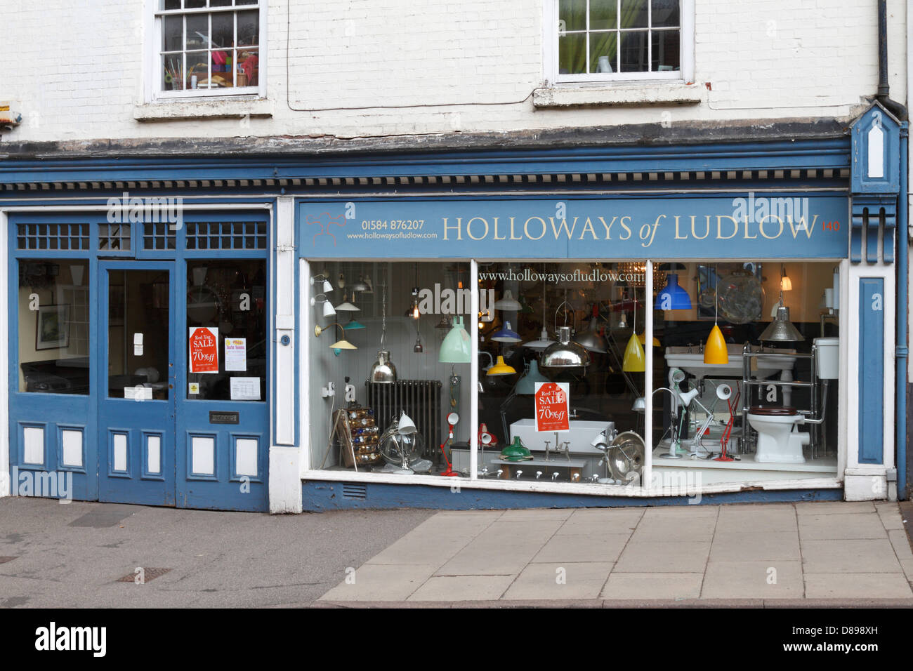 Holloways of Ludlow, an award winning supplier of bespoke kitchens, lighting, bathrooms and interior fixtures and - Stock Image