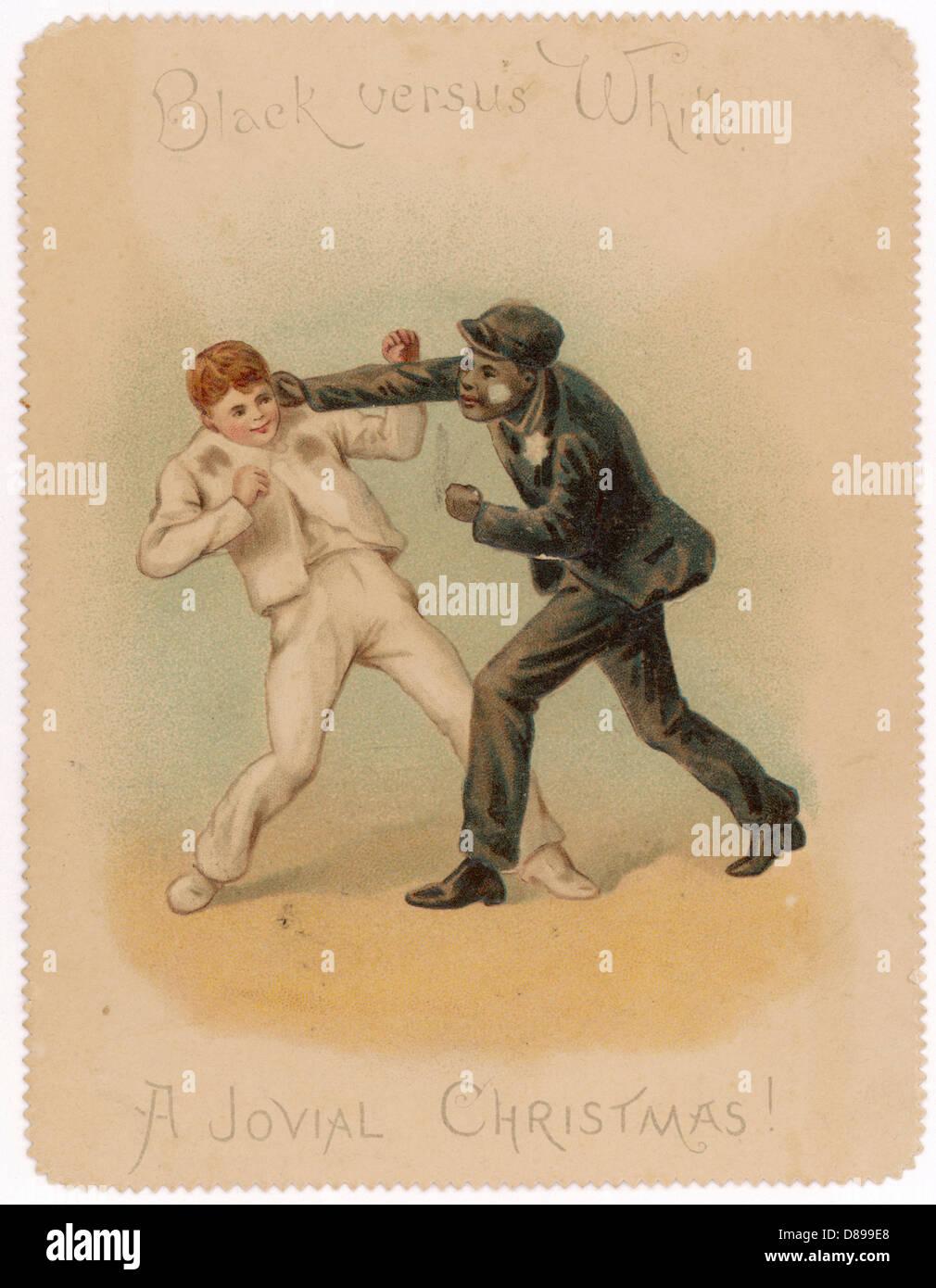 Black White Boy Fight - Stock Image