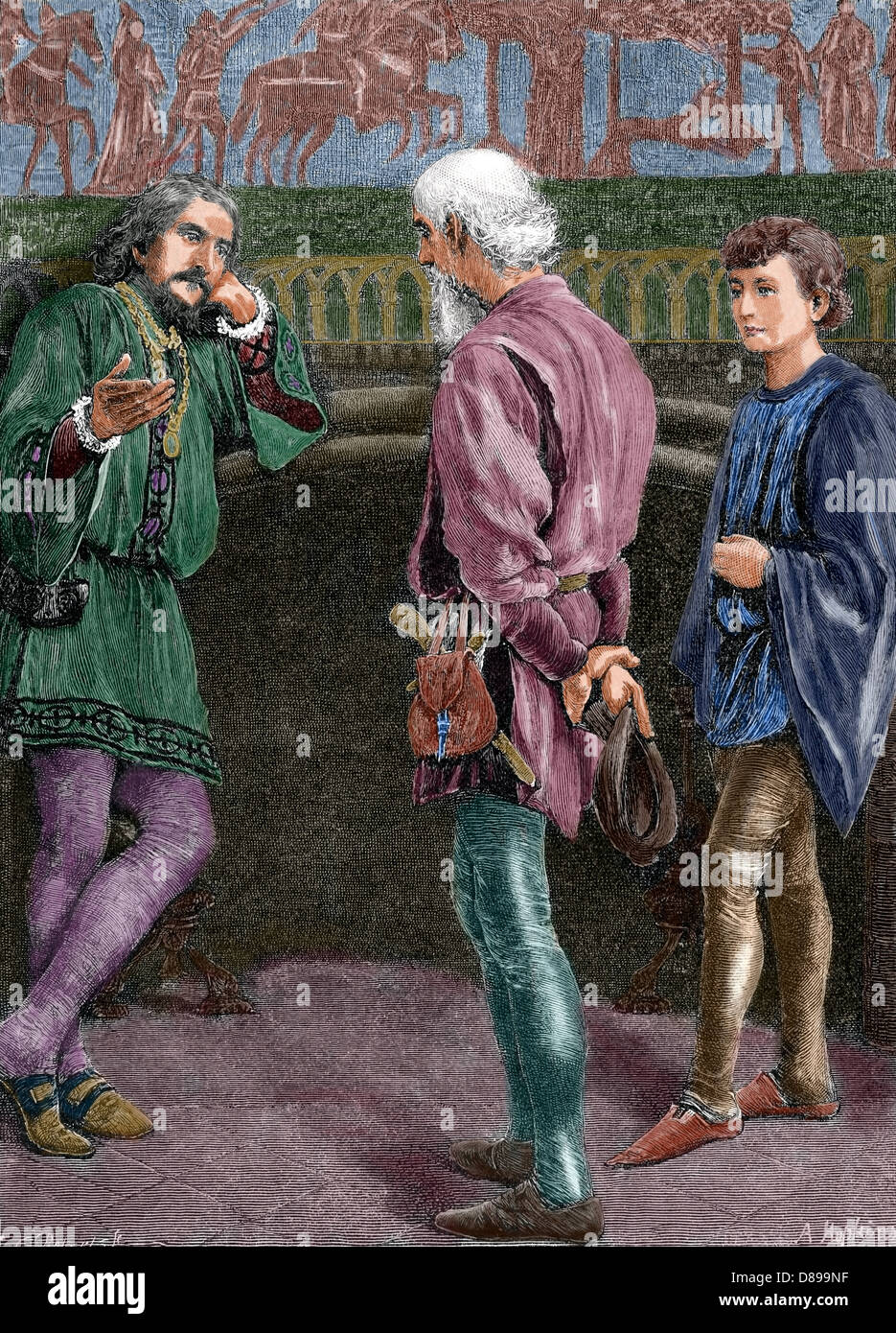 William Shakespeare (1564-1616). English writer. Hamlet and the comedians. Act II, Scene II. Engraving. Colored. - Stock Image