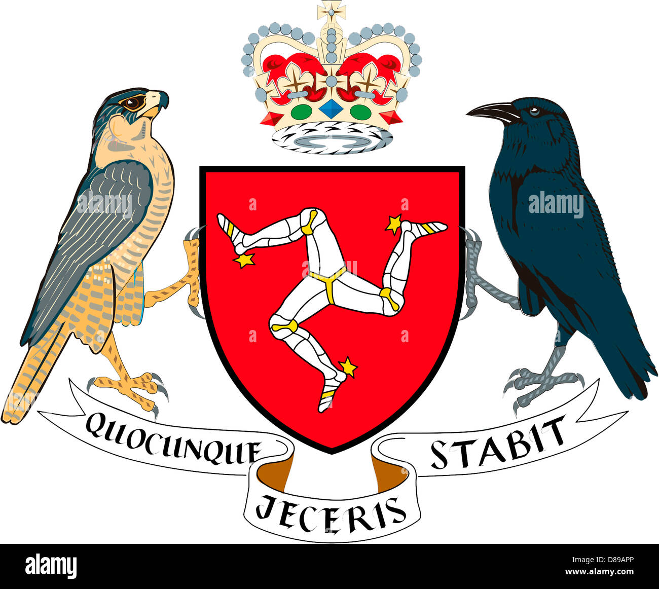 Coat of arms of the British Crown Dependency Isle of Man. - Stock Image