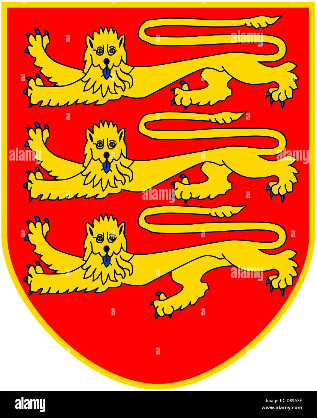 Coat of arms of the British Crown Dependency Jersey. - Stock Image