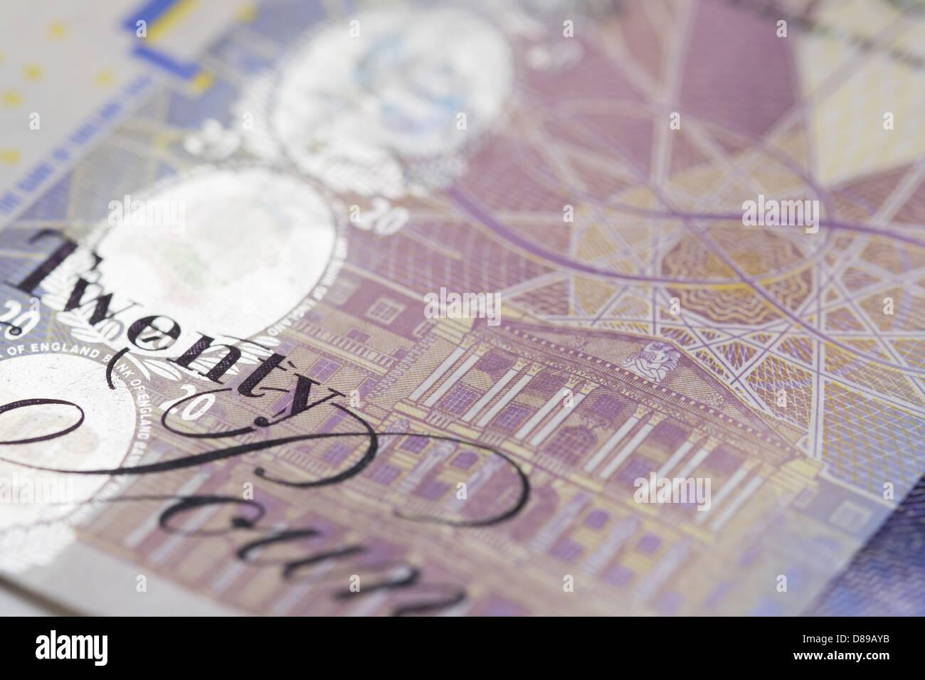 A close up of a twenty pound note. - Stock Image