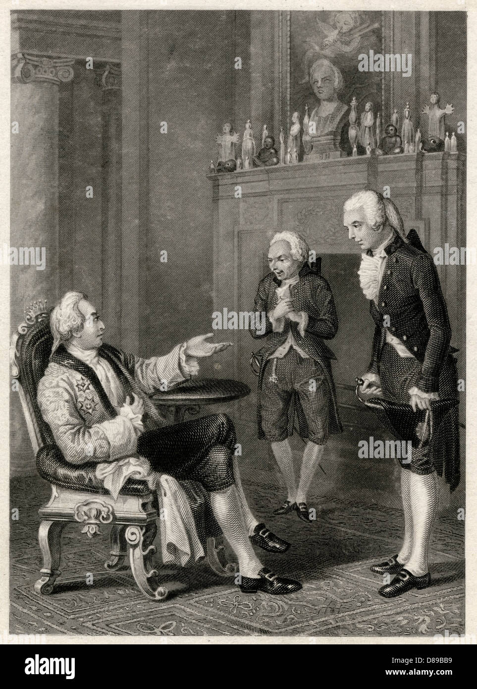 Royal Personage With Two Deferential Visitors - Stock Image