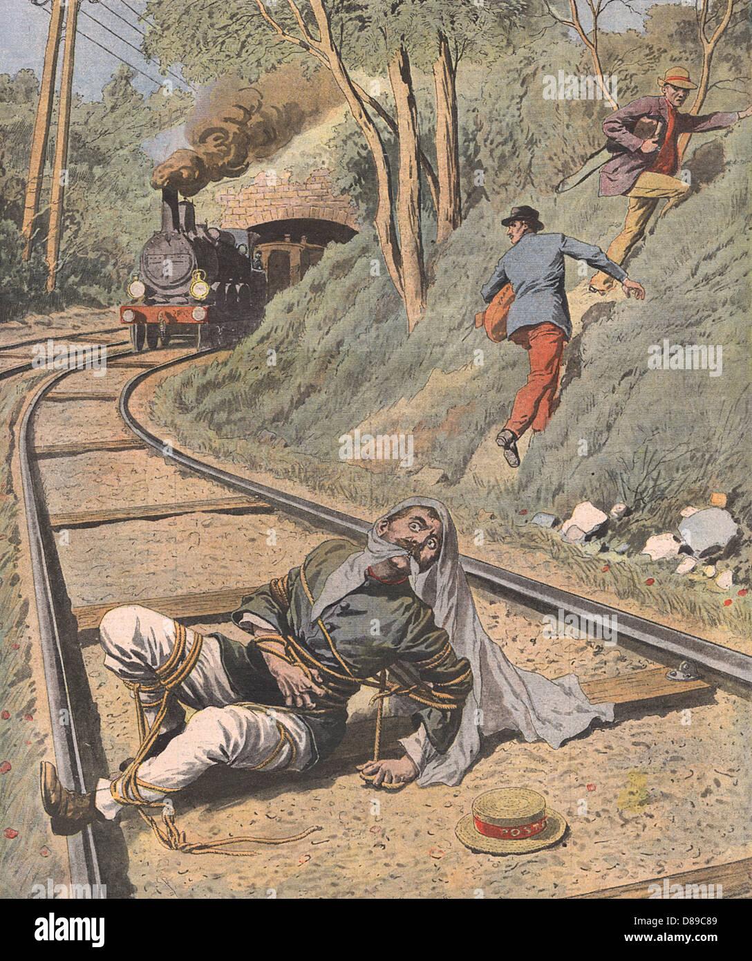 Man On Railway Tracks Stock Photo