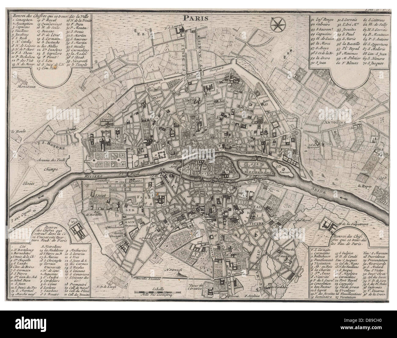 Map Paris C Stock Photo Alamy - Map of paris bastille